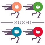 Vector sushi design elements funny concept