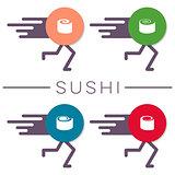 Vector sushi design elements funny concept