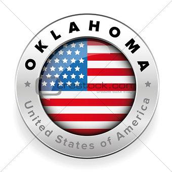 Oklahoma Usa flag badge button
