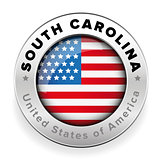 South Carolina Usa flag badge button