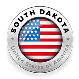 South Dakota Usa flag badge button