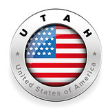 Utah Usa flag badge button
