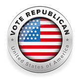 Vote Republican badge Usa flag