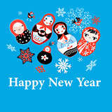 New Years greeting card on funny dolls