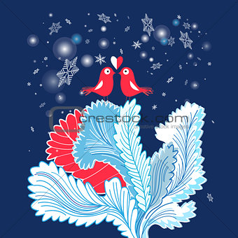 Christmas card with enamored birds