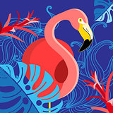 Tropical illustration with a portrait of a red flamingo