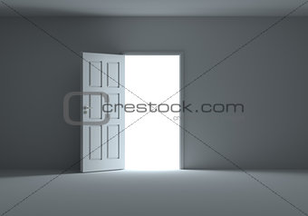 An open door with light streaming into dark room