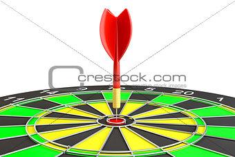 Dart board with arrow, isolated