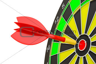 Close up red dart arrow on center of dartboard