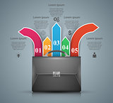 Briefcase, office - business infographic.
