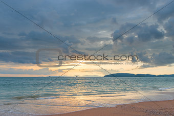 A gentle sunset in Thailand in pastel colors - a beautiful seasc