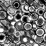 Grunge black and white background with round shapes