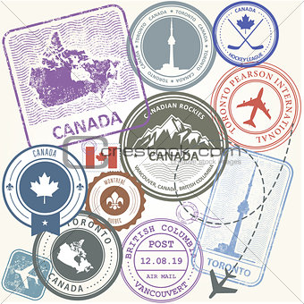 Canada travel stamps set -  journey symbols of Toronto, Canada a