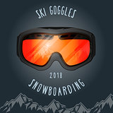 Ski goggles and mountains - snowboarding season poster