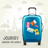 Modern blue plastic wheeled suitcase and european landmarks - to