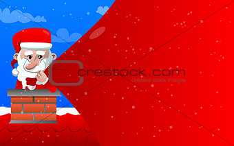 Santa Claus pulling huge bag of gifts with red copy space while he is in the chimney.