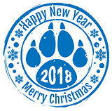 2018 Happy new year and Merry Christmas. Stamp dog footprint paw trail symbol 2018 on Chinese calendar