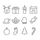 Christmas line icon set