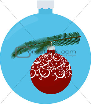 Christmas tree branch with red ball isolated on blue ball