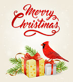 Red cardinal bird and gifts