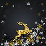 Snowflakes and golden glitter deer