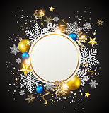 White snowflakes and golden decorations