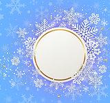 White snowflakes on a blue background.