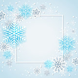 White and blue snowflakes in frame
