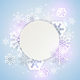 Holiday background with white snowflakes