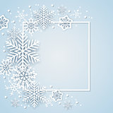Holiday background with white paper snowflakes