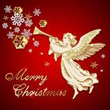 Vintage Christmas angel and snowflakes