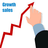 Hand with graph Profit concept, growing business Vector