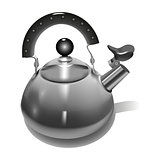 Realistic Metal teapot on white background Vector