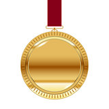 Gold medal on red ribbon isolated on white. Vector