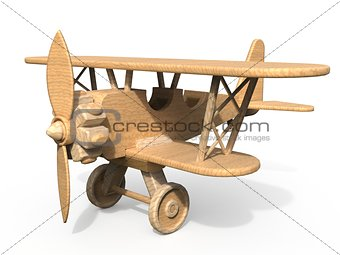Wooden toy airplane 3D