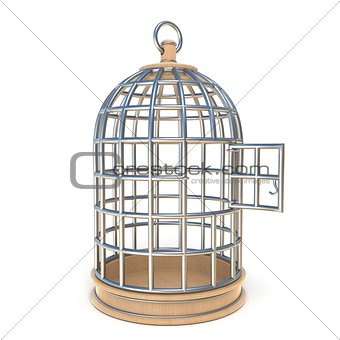 Empty bird cage opened 3D