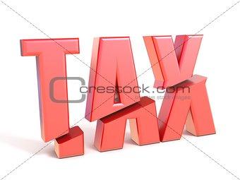 Red word TAX cut 3D