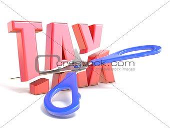 Scissors cut word TAX 3D
