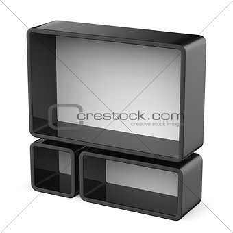 Copy space black and white shelf set 3D