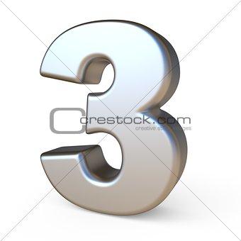 Metal font NUMBER THREE 3 3D