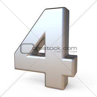 Metal font NUMBER FOUR 4 3D