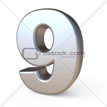 Metal font NUMBER NINE 9 3D