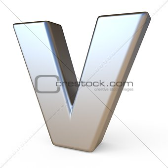 Metal font LETTER V 3D
