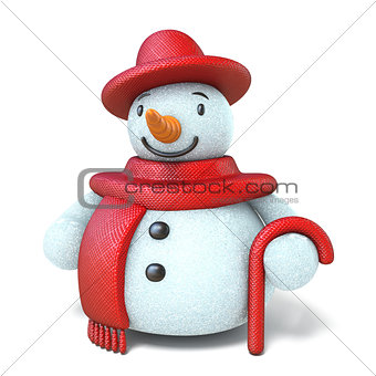 Snowman with red hat, scarf and stick 3D