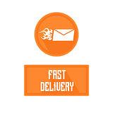 Logo of fast delivery emblem, hot letter