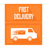 Quick delivery logo, cars with painted burning letter