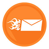 Fast delivery letter in the form of a burning letter in the orange circle