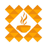 Orange cup of hot coffee, tea in a pattern on a white background