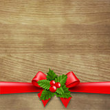 Wooden Background With Red Ribbon And Holly Berry