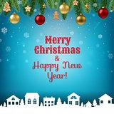 Christmas Postcard With Garland